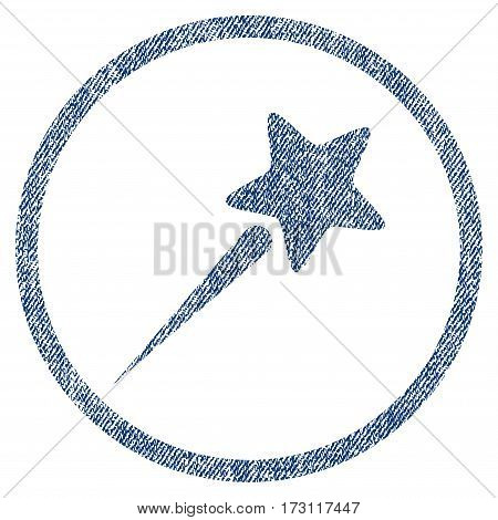 Flying Star textured icon for overlay watermark stamps. Blue jeans fabric vectorized texture. Rounded flat vector symbol with dirty design.