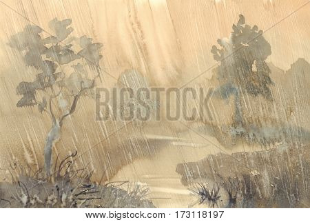 Watercolor hand drawn illustration of rain landscape with a river and trees. Artistic rainy background.