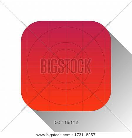 iOS abstract red app icon, blank button template with flat designed shadow and gradient background for internet sites, web user interfaces (UI) and applications (apps). Vector illustration.