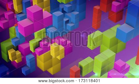 3d rendering of geometric pieces falling down on a purple backdrop. The logical thinking concept.