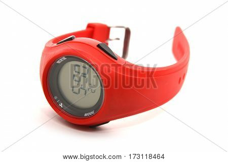red sport watch isolated on white background