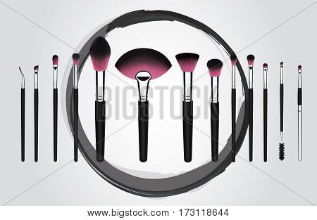 Vector illustration concept of a set of makeup cosmetic brushes with Grundge pink brush stroke circle on background