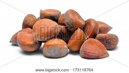 edible chestnuts pile isolated on white background
