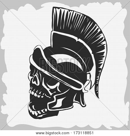 Spartan warrior skull in ancient helmet. Greek dead warrior, Gladiator death emblem, legionnaire heroic soldier. Vector