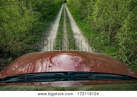 Off-road travel on mountain road.