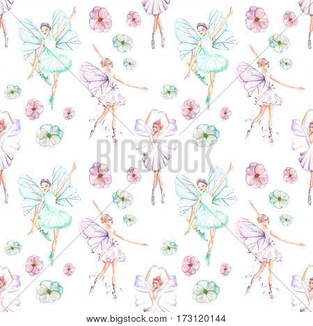Seamless pattern with watercolor ballet dancers with butterfly wings and flowers, hand drawn isolated on a white background