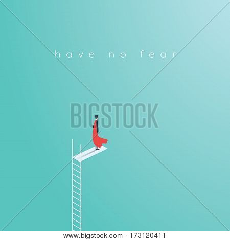 Business superhero businessman standing on high ladder jump. Symbol of business courage, bravery, fearless, power. Eps10 vector illustration.