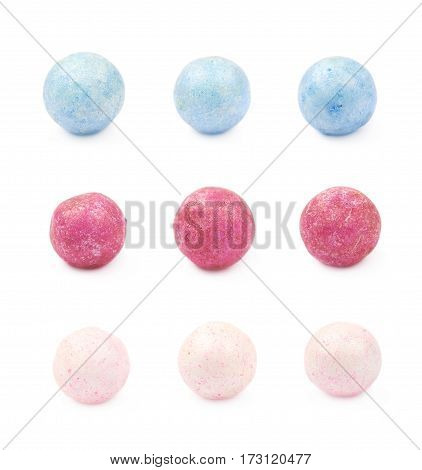 Single colored foam ball or a corn cereal candy isolated over the white background, set of three different foreshortenings for three color variations