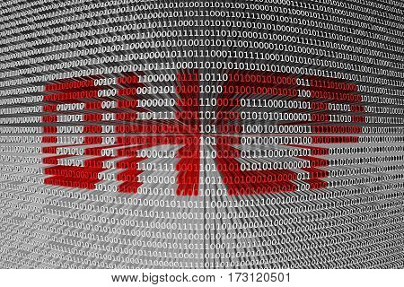 dhcp presented in the form of binary code 3d illustration