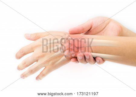 wrist bones injury in white background , pain