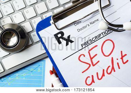Words SEO audit on a prescription form.