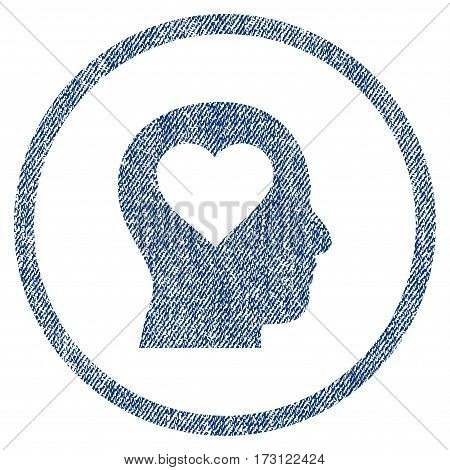 Love In Head textured icon for overlay watermark stamps. Blue jeans fabric vectorized texture. Rounded flat vector symbol with unclean design.