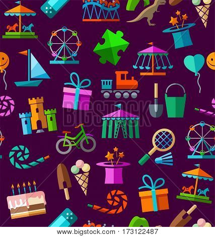 Children's entertainment and leisure, seamless background, color, dark purple. Vector background with objects for the entertainment of children. Colored image on a dark purple field.