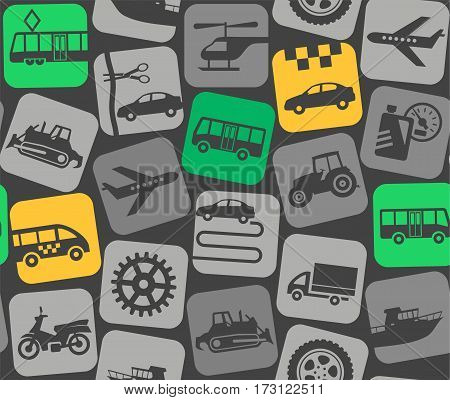 Urban transport, colored background, seamless. Yellow and green flat icons of public transport on dark gray background. Vector background. Urban transport.