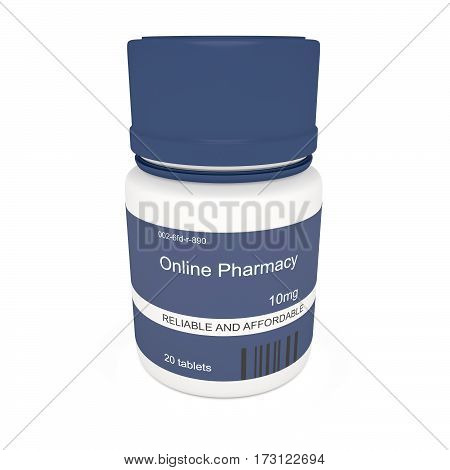 Healthcare Concept: Blue Pill Bottle Online Pharmacy Reliable And Affordable 3d illustration on white background