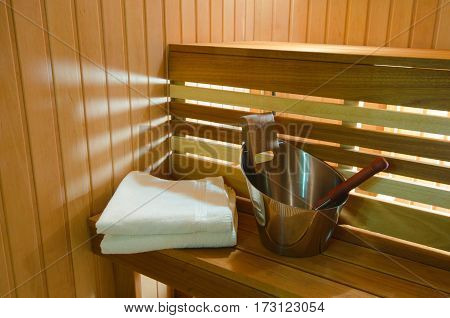 Finnish Wooden Sauna In The Spa Hotel Awaits Visitors