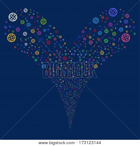 Globe fireworks stream. Vector illustration style is flat bright multicolored iconic symbols on a blue background. Object double fountain done from random pictograms.