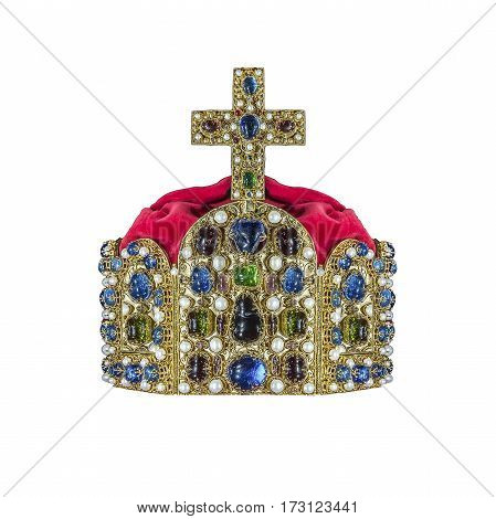 Gold crown with jewels isolated on white.