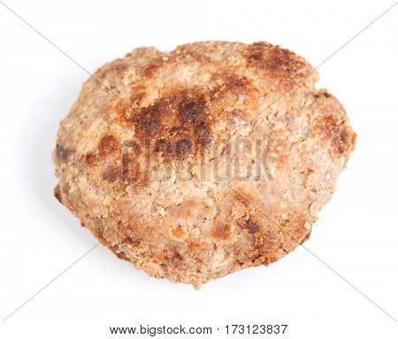Small hand made cutlet isolated over white