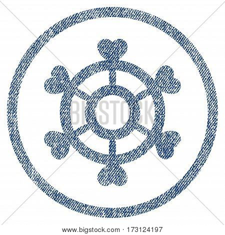 Lovely Boat Steering Wheel textured icon for overlay watermark stamps. Blue jeans fabric vectorized texture. Rounded flat vector symbol with unclean design.