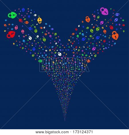 Heart Lock fireworks stream. Vector illustration style is flat bright multicolored iconic symbols on a blue background. Object double fountain organized from random pictograms.