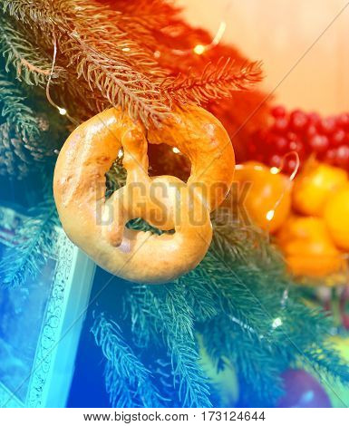 Delicious bread weighs on a Christmas tree