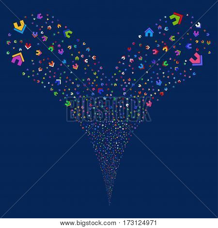 Home fireworks stream. Vector illustration style is flat bright multicolored iconic symbols on a blue background. Object double fountain organized from random pictographs.