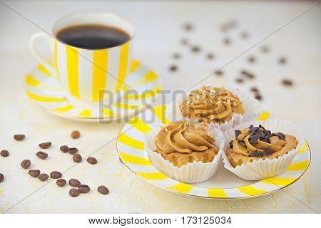 Delicious Hot Black Coffee In  Beautiful Mug