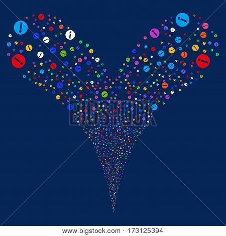 Info fireworks stream. Vector illustration style is flat bright multicolored iconic symbols on a blue background. Object double fountain created from random symbols.