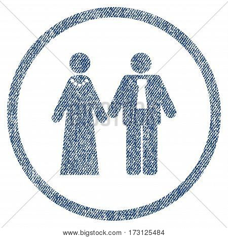 Newlyweds textured icon for overlay watermark stamps. Blue jeans fabric vectorized texture. Rounded flat vector symbol with dirty design.