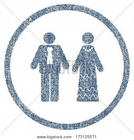 Newlyweds textured icon for overlay watermark stamps. Blue jeans fabric vectorized texture. Rounded flat vector symbol with unclean design.