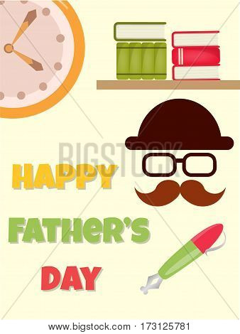 Poster Greeting Card Happy Father's Day Vector illustration