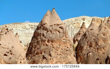 Beautiful mountains in Turkey in Cappadocia photographed in close-up