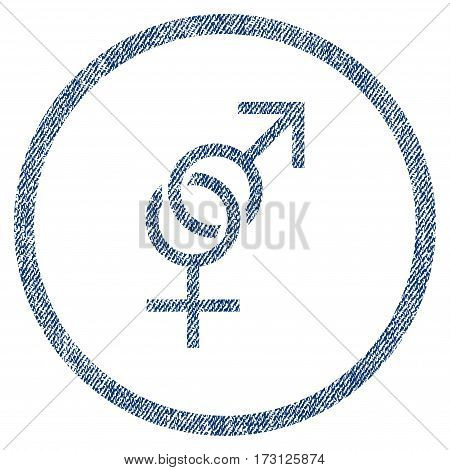 Sex Symbol textured icon for overlay watermark stamps. Blue jeans fabric vectorized texture. Rounded flat vector symbol with dirty design.