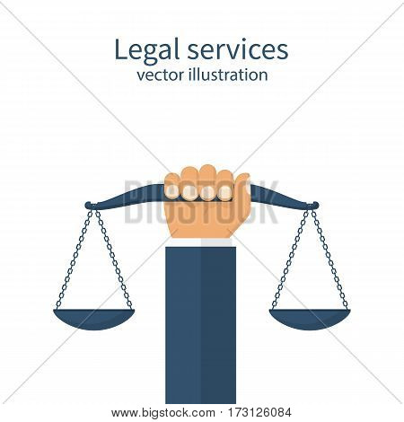 Weight scales justice hold in hand judge. Civil rights. Law and justice concept. Vector abstract illustration flat design. Isolated on background. Legal services.