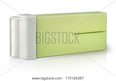Cartridge with wax for depilation on the side isolated on white background