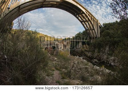 New Bridge And Old Bridge With A Small Chapel At Karytaina, Peloponnese, Greece