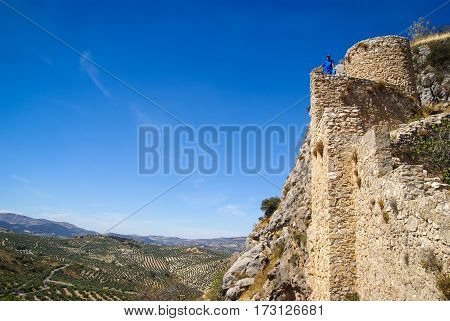 Image of ruins of a castle at  Moclin, Granada, Andalusia, Spain