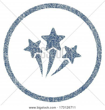 Star Fireworks textured icon for overlay watermark stamps. Blue jeans fabric vectorized texture. Rounded flat vector symbol with dirty design.