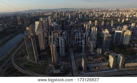 Aerial Shot of skyscrapers in Sao Paulo, Brazil