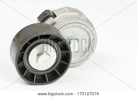 Car Belt Tensioner Roller Isolated Over White