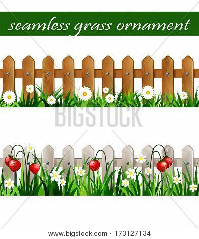Green Grass set with strawberries on white wooden rustic fence and wooden fence with flowers borders seamless isolated clip art vector on white