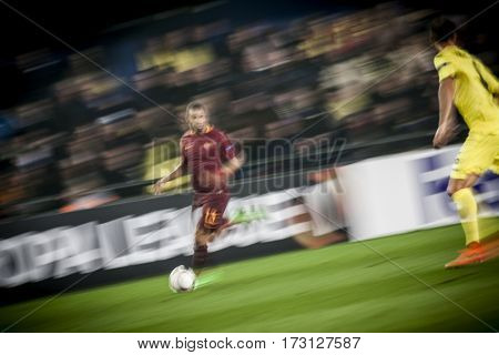 VILLARREAL, SPAIN - FEBRUARY 16: Bruno Peres during UEFA Europa League match between Villarreal CF and AS Roma at Ceramica Stadium on February 16, 2017 in Villarreal, Spain