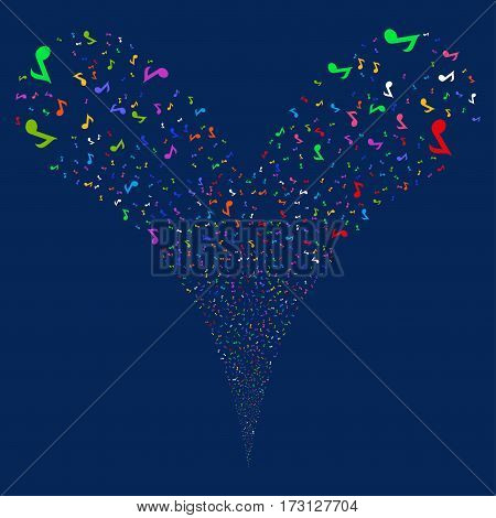Musical Note fireworks stream. Vector illustration style is flat bright multicolored iconic symbols on a blue background. Object double fountain made from random pictographs.