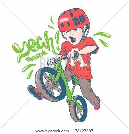 Cool kid on balance bike vector illustration