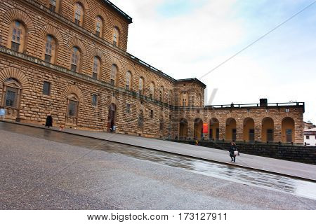 FLORENCE ITALY - FEBRUARY 06 2017: The Palazzo Pitti (Pitti Palace) in Florence Italy (Firenze)