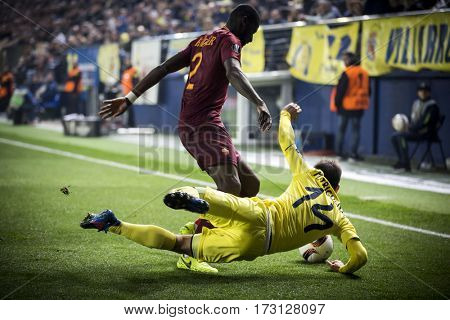 VILLARREAL, SPAIN - FEBRUARY 16: 14 Trigueros, Rudiger during UEFA Europa League match between Villarreal CF and AS Roma at Ceramica Stadium on February 16, 2017 in Villarreal, Spain