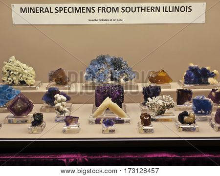 TUCSON, ARIZONA, FEBRUARY 12. The Tucson Convention Center on February 12, 2017, in Tucson, Arizona. A Jim Gebel Fluorite Collection at the Tucson Gem and Mineral Show in Tucson, Arizona.