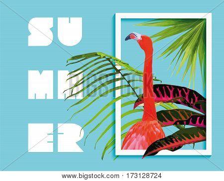 Summer Paradise Design Of Flamingo And Palm Tree