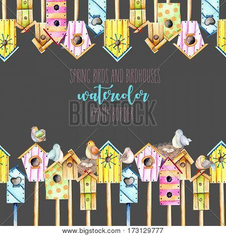 Card template, frame border with watercolor colorful birdhouses, cute birds and nests, hand drawn on a black background